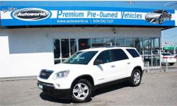 Make GMC Model Acadia Year 2008 Colour White kms 110159 Trans Automatic 2008 GMC Acadia SLE-1 AWD Local BC Vehicle, No Accidents, AWD, 3.6L, 6 Speed Automatic, 8 Passenger, 18 Inch Wheels, Cruise Control, Air Conditioning, Keyless Entry, Fog Lights, Cd