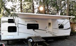 Like new. Clean, spacious, 30 foot Sportsman travel trailer. Sleeps 8, 1 slide-out, power awing, full kitchen, 3 piece bathroom, A.C. and heat. 2 new 6 volt deep cycle batteries, 2 new 30lbs. propane bottles. Comes with 3 year warranty and all the needed