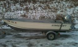 2008 starcraft aluminum fishing boat with 9.9 honda 4 stroke engine with electric start, running lights , bilge pump, on ez load trailer, 5900.00 firm call rod for more info 250-551-3673
