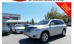 Trans Automatic 2008 Toyota Highlander Hybrid with alloy wheels, fog lights, roof rack, tinted rear windows, leather interior, steering wheel media controls, Bluetooth, Navigation, backup camera, dual control heated seats, push start engine, dual climate