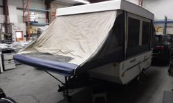 Stock #: BC0030758 VIN: 4X4CFS4139D163171 2009 Forest River Flagstaff 206LTD Electric Pop Up Hard Top Tent Travel Trailer, 1 door, white exterior, tan interior, cloth, sleeps 6, electric pop up top, awning, hard top, refrigerator, 2 burner stove top,