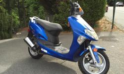 Great scooter, lots of pep. Just finished doing a tune up and safety check. Big lockable storage area ( can lock up your helmet). Good tires, good brakes, everything works as it should. Won't last long at this price. Come by and have a look. It is in