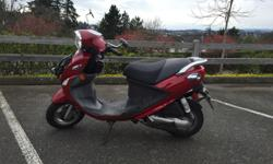 No motorcycle license required! Cheap on gas, tons of fun to ride. This scooter is in great shape! Upgraded exhaust for extra pep. Brand new battery, freshly upholstered seat and meticulously maintained. Plenty of storage under the seat, and under the