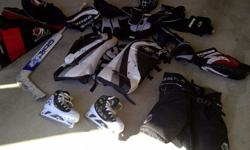 Complete hockey goalie gear, appropriate for Atom aged player. Equipment purchased in 2010 for a 10 year old boy. Only used for one season, good condition. (Cost approx. $1,000 when purchased new)Set includes:- Itech goalie helmet - size 'youth'- Reebok