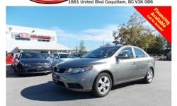 Trans Automatic 2010 Kia Forte EX 2.0L with alloy wheels, power locks/windows/mirrors, steering wheel media controls, Bluetooth, dual control heated seats, CD player, A/C, AM/FM stereo, rear defrost and so much more! STK # 64025A DEALER #31228 Need to