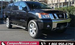 Make Nissan Model Titan Year 2010 Colour Black kms 117707 Trans Automatic Price: $22,990 Stock Number: 8-U508A VIN: 1N6AA0EC3AN323092 Interior Colour: Black Cylinders: 8 Fuel: Regular Unleaded **ONE OWNER**NO ACCIDENTS**SERVICED BY CAMPUS**LEATHER