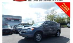 Trans Automatic 2011 Honda CR-V EX-L has alloy wheels, tinted rear windows, power locks/windows/mirrors/seats, leather interior, steering wheel media controls, sunroof, dual control heated seats, A/C, CD player, AM/FM stereo, USB connection and so much