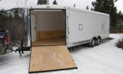 inside measurements are 20+5ft V x8ft x 6ft 8in high 2 x 5200lb dexter axles w/EZ lube hubs electric drum brakes on all 4 x-tra light package & wheel upgrade 3yr factory warranty good for sleds , cars or contractor job trailer hauled 3 loads of furniture