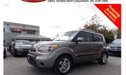 Trans Automatic 2011 Kia Soul 2.0L with alloy wheels, roof rack, tinted rear windows, power locks/windows/mirrors, steering wheel media controls, Bluetooth, dual control heated seats, A/C, CD player, SIRIUS radio, AM/FM stereo, rear defrost and so much