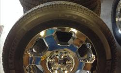 """For sale, 2012 F-150 OEM Chrome 20"""" wheels With upgraded michelin 10 ply LTX A/T2 tires. Rims are in excellent condition, no peeling. Tires are near new, 90% tread life remaining. Wheels have tire pressure sensors installed as well. Price: 925 OBO"""