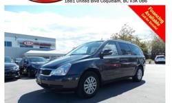 Trans Automatic 2012 Kia Sedona LX with roof rack, tinted rear windows, power locks/windows/mirrors, steering wheel controls, Bluetooth, dual control heated seats, dual climate control, A/C, CD player, AM/FM stereo, rear defrost, 7 seating capacity and so