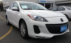 Make Mazda Model MAZDA3 Year 2012 Colour White kms 59350 Trans Automatic Price: $17,995 Stock Number: 7370A Interior Colour: Black Engine: 2.0L DOHC 16-valve SKYACTIV Cylinders: 4 Fuel: Gas Features include: 3 Point Rear Seat Belts, Adjustable Headrests,