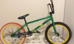"""*NO PHONE CALLS PLEASE TEXT OR EMAIL* 2013 Academy Aspire BMX Cariboo Brewing Special Frame Colour Green Rim Colour Yellow Specifications Model Year 2013 Frame Academy Aspire Materials 3 Main Tube CrMo Top Tube Length 20.4"""" Chainstay Length 13.5"""" Head"""