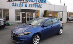 Make Dodge Model Dart Year 2013 Colour Blue kms 27734 Trans Automatic Price: $17,995 Stock Number: D18405A Interior Colour: Black Engine: 2.0L L4 SFI DO Cylinders: 4 Fuel: Gasoline Accident Free, BC Only, Clean 155 Point Inspection, Autodim RV Mirrror,