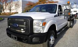 Make Ford Model F-350 SD Year 2013 Colour White kms 252318 Trans Automatic Stock #: BC0030580 VIN: 1FD8W3H6XDEA94842 2013 Ford F-350 SD Crew Cab 9 Foot Flat Deck Service Truck Dually 4WD, 6.2L, 8 cylinder, gasoline engine, 4 door, automatic, 4WD, 4-Wheel