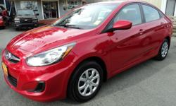 Make Hyundai Model Accent Year 2013 Colour Red kms 38000 Trans Manual 1.6L 4 Cylinder, 6 Speed Manual, Power Group, AC, CD, Aux Input, Traction Control, Keyless Entry, Heated Seats, 38,000 Kms Visit www.car-corral.com for all details Safety Inspection,