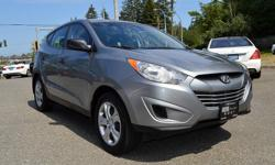Make Hyundai Model Tucson Year 2013 Colour Grey kms 78616 Trans Automatic *NEW YEAR SALE* - $1,000 OFF - ONE OWNER, LOCAL BC VEHICLE, BRAND NEW BRAKES, Fully Serviced & Safety Inspected! Options include: Heated Seats, Bluetooth, Steering Wheel Controls,
