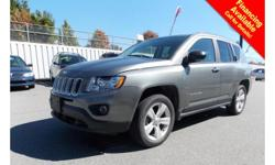 Trans Automatic 2013 Jeep Compass Sport North has alloy wheels, fog lights, roof rack, tinted rear windows, power locks/windows/mirrors, steering wheel media controls, A/C, Bluetooth, CD player, SIRIUS radio, AM/FM stereo and so much more! STK # Q61610