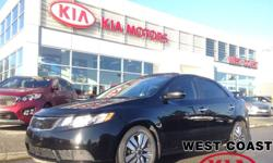 Make Kia Model Forte Year 2013 Colour Black kms 45316 Trans Automatic Body-style: Sedan Drive Line: FWD Engine: 2.0L I-4 cyl Exterior Colour: Black Interior Colour: Grey Kilometers: 45360 Stock #: UC717148 The vehicle is located at West Coast Kia