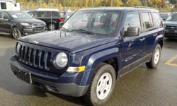 Make Jeep Model Patriot Year 2014 Colour Blue kms 58992 Stock #: BC0030558 VIN: 1C4NJPAAXED653518 2014 Jeep Patriot Sport 2WD, 2.0L, 4 cylinder, 4 door, FWD, 4-Wheel AB, cruise control, air conditioning, AM/FM radio, CD player, blue exterior, black