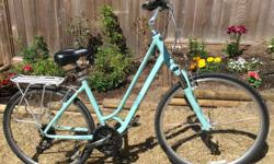Mint condition, lightly used, top of the line. Will consider offers. Features Built for women, handlebars adjust forward and back, comfort saddle, suspension on front fork and seat post Shimano trigger shifting 27-speed drivetrain for lightning-fast