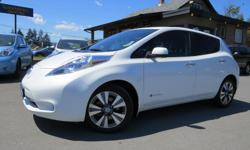 Make Nissan Model Leaf Year 2014 Colour PEARL WHITE kms 55417 Trans Automatic 80 KW ELECTRIC MOTOR! FULLY ELECTRIC! FULLY LOADED SL LEATHER HEATED FRONT & REAR SEATS 55,417 KM'S! TOUCH SCREEN NAVIGATION, BACK-UP & 360 CAMERA PUSH BUTTON START, HEATED