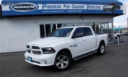 Make Ram Model 1500 Year 2014 Colour White kms 65842 Trans Automatic 2014 Ram 1500 Sport Crew Cab 4WD Local Vehicle,Navigation, Bluetooth, Back Up Camera, Heated Steering Wheel, Remote Start, Sunroof, Power Sliding Rear Window, Integrated Brake