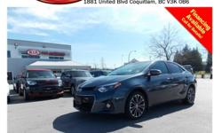 Trans Automatic 2014 Toyota Corolla S with alloy wheels, fog lights, tinted rear windows, leather interior, power locks/windows/mirrors/seats, steering wheel media controls, sunroof, Bluetooth, dual control heated seats, backup camera, A/C, CD player,