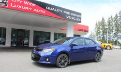 Make Toyota Model Corolla Year 2014 Colour Blue kms 58065 Trans Automatic The Safe and Reliable Toyota we all know now sportier and sexier than ever. The S models get a prominent chrome-ringed - piano-black grille, chrome exhaust tip, 17-inch Alloys,