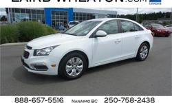 Make Chevrolet Model Cruze Year 2015 Colour Summit White kms 28612 Trans Automatic Price: $16,800 Stock Number: 95236 Interior Colour: Black Engine: Turbocharged Gas I4 1.4L/83 Cylinders: 4 Fuel: Gasoline This Chevrolet Cruze has a dependable Turbocharged