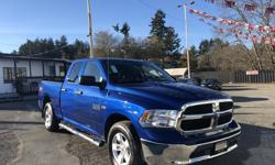 Make Dodge Model Ram 1500 Year 2015 Colour Blue kms 59000 Trans Automatic LOW KMS! LOW PRICE! Come check out this Ram soon as it won't last long! We finance! 2 paystubs and you're approved! FAMILY OWNED AND OPERATED! We are located at 1836 Island highway