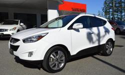Make Hyundai Model Tucson Year 2014 Colour White kms 72056 Trans Automatic *NEW YEAR SALE* - $1,000 OFF - LOCAL BC VEHICLE, ZERO ACCIDENTS, BRAND NEW FRONT & REAR BRAKES, BALANCE OF FACTORY WARRANTY, ALL WHEEL DRIVE! Options include: Navigation, Backup