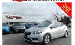 This 2015 Kia Forte LX comes with power locks/windows/mirrors, steering wheel media controls, A/C, Bluetooth, CD player, SIRIUS radio, AM/FM radio, rear defrost and so much more! STK # PP0034 DEALER #31228 Need to finance? Not a problem. We finance