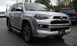 Make Toyota Model 4Runner Year 2015 Colour Silver Trans Automatic Your Perfect Winter SUV is here at CWL Auto, BRAND NEW BRAKES FRONT & REAR, BALANCE OF FACTORY WARRANTY, LOCAL BC VEHICLE, 4X4, 7 PASSENGER, TOP OF THE LINE LIMITED MODEL! Options include: