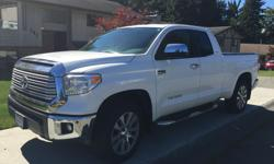 """Make Toyota Model Tundra Colour white Trans Automatic kms 36624 Folding tonneau cover ( 1000 dollar option), running boards,20""""tires, 5.7 litre V-8, Technology package includes-Navigation, Blind spot monitor, Heated seats, dual zone climate control, Front"""