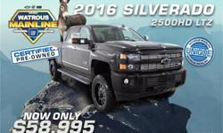 Make Chevrolet Model Silverado 2500HD Year 2016 Colour Black kms 100511 Trans Automatic Price: $58,995 Stock Number: K1191A VIN: 1GC1KWE8XGF277911 Interior Colour: Black Engine: Turbocharged Diesel V8 6.6L/ Cylinders: 8 Fuel: Diesel From city streets to