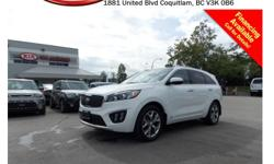Trans Automatic This 2016 Kia Sorento 3.3L SX+ comes with alloy wheels, fog lights, tinted rear windows, 2-toned leather interior, power locks/windows/mirrors, push start engine, steering wheel media controls, Bluetooth, dual control heated/cooling seats,