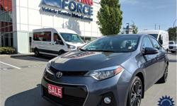 Make Toyota Model Corolla Year 2016 Colour Grey kms 49996 Trans Automatic Price: $19,990 Stock Number: 131930 VIN: 2T1BURHE1GC514490 Interior Colour: Black Cylinders: 4 - Cyl Fuel: Gasoline This 2016 Toyota Corolla S 5 Passenger Luxury Sedan has soft