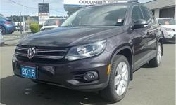 Make Volkswagen Model Tiguan Year 2016 Colour Grey kms 57442 Trans Automatic Price: $23,576 Stock Number: S5056A VIN: WVGJV7AX6GW573398 Interior Colour: Black Engine: 2.0L Inline4 Turbo Engine Configuration: Inline Cylinders: 4 Fuel: Regular Unleaded This