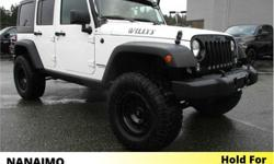 Make Jeep Model Wrangler Year 2017 Colour White kms 13389 Trans Automatic Price: $39,500 Stock Number: 9CH4368A VIN: 1C4BJWDG1HL743101 Interior Colour: Black Engine: V6 Fuel: Gasoline One Owner. No Accidents. Low Kilometers. 4' Pro Comp Suspension Lift,