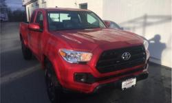 Make Toyota Model Tacoma Year 2017 Colour Barcelona Red Metallic kms 29073 Trans Automatic Price: $27,888 Stock Number: 19052A VIN: 5TFRX5GN4HX087521 Engine: 159HP 2.7L 4 Cylinder Engine Fuel: Gasoline One Owner, Non-smoker, Ex-lease, Trade-in, Certified,