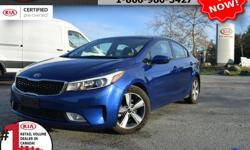 """Make Kia Model Forte Year 2018 Colour Blue Trans Automatic We are Canada's #1 KIA Retail Volume Dealer. Our volume purchasing power saves you money! Our motto """"we can replace vehicles, we cannot replace our customers!"""" is the reason we sell more new Kia's"""