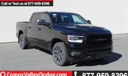 Make Ram Model 1500 Year 2019 Colour Black kms 525 Trans Automatic This SPORT crew cab is equipped with SXM/Bluetooth/back up camera/keyless entry/remote start/power dual pane panoramic sunroof/leather faced front heated/ventilated front seats & heated