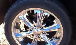 """I am selling 20"""" voodoo rims. Back tires are 305/50R20. Front tires are 275/45R20. Just put on new back tires/ front are still good. They are cooper discover tires.They are 6 bolt, I paid 2500 when new. Nice looking rims,  Looking for 1200obo. This ad was"""