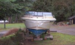 """Good hull, good glass. interior wood mostly gone, seats, etc are out and could be used for patterns. Leg looks good, prop is shot. 350 V8 Volvo engine very suspect, haven't tried it. 21'6"""" length, 8' breadth, 4'5"""" depth. House sold it's got to go. Located"""