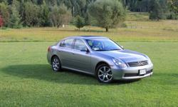 You Want This Car!2006 Infinity G35X 89KmSpirited, Sporty and Economical - Summer driven only.Extended warranty serviced to November 2011. Maintenance is documented. 6 cyl - AWD - hardwired Sirius Radio.4 door. Black Leather Seats. Full-on sunroof -