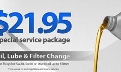 Imperial Street Auto Repair in Burnaby offers $21.95 special service package that includes: - Oil, Lube and filter change using 5w30, 5w20 and 10w30 oil - Multipoint vehicle inspection - Quick friendly service This offer is applicable to most vehicles up