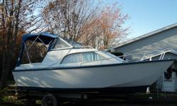 21 ft pleasure boat, plywood glassed over. 90 Yamaha outboard, 2 fuel tanks, electric start. Depth finder, Stereo with c/d player. Very comfortable and affordable boat. 6 Life Jackets included and portable toilet. Also has full bimini top. Comes with