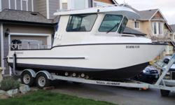2005 - 22 foot stormrunner aluminum fishing boat 2007 225 hp suzuki outboard and matching 9.9 hp kicker with electric start which have both been serviced mid-october.   This boat comes equipped with gps/plotter and sounder - vhf marine radio, front window