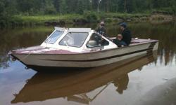 Buy boat for next spring  Rebuilt chevy 350 with 10 hrs . rebuilt  jacuzzi jet this spring. Comes with travel and camper top.Has qt 100 bottem, great for strengh . Has heater and two bilge pumps,70 gal fuel tank, Bracket for kicker , CD player with 2